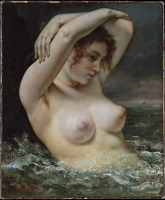 woman in waves gustave courbet